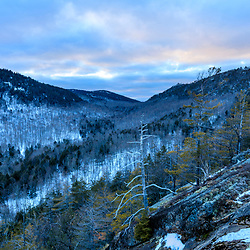 Winter view of the valley between Hukleberry and Crane Mountains (from Huckleberry) in South Johnsburg, New York. Adirondack Mountains.