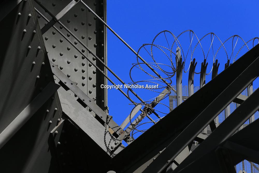 Razor Wire guards the walkways to the Sydney Harbour Bridge
