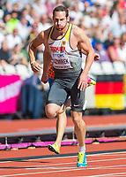 Athletics - 2017 IAAF London World Athletics Championships - Day Eight, Morning Session<br /> <br /> Mens Decathlon - 100m <br /> <br /> Kai Kazmirek (Germany) races to the 100m finish at the London Stadium<br /> <br /> COLORSPORT/DANIEL BEARHAM