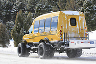 One of the snowcoaches used to shuttle people into the interior of Yellowstone National Park in the winter.