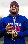 Texas Rangers shortstop Elvis Andrus (1) laughs during a spring training workout at the team's training facility on Saturday, February 18, 2017 in Surprise, Arizona. (Ashley Landis/The Dallas Morning News)