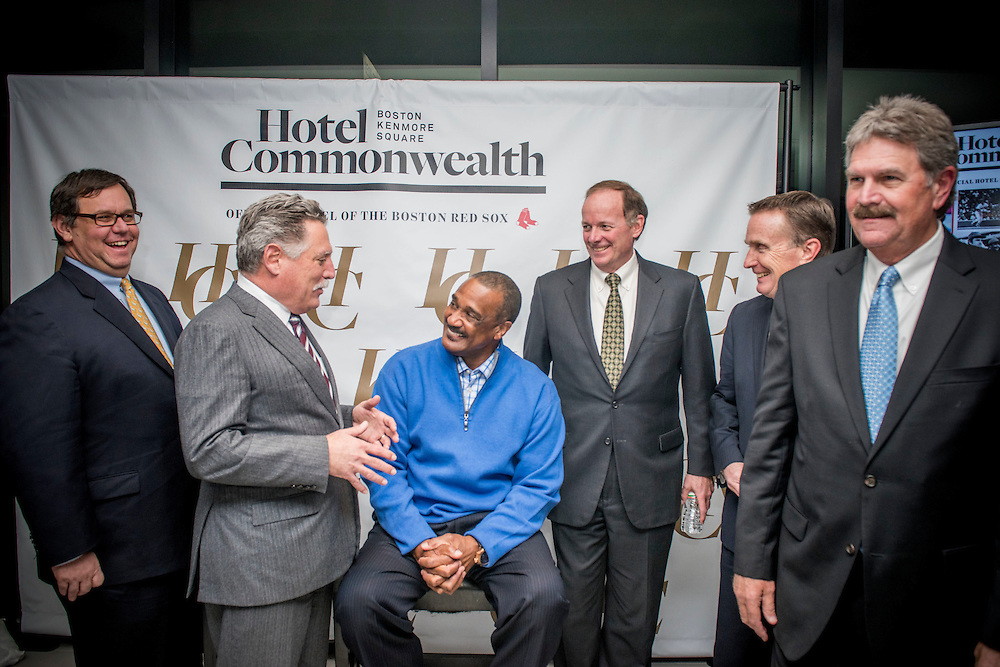January 21, 2016, Boston, MA:<br /> Former Boston Red Sox left fielder Jim Rice greets guests during the Hotel Commonwealth Sparkle &amp; Glow grand opening party at Hotel Commonwealth in Boston, Massachusetts Thursday, January 21, 2016. <br /> (Photo by Billie Weiss/Hotel Commonwealth)