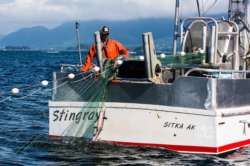 Salmon fishing, Sitka Sound, Sitka, Baranof Island, Southeast Alaska, USA people ****Model Release available ****Model Release available