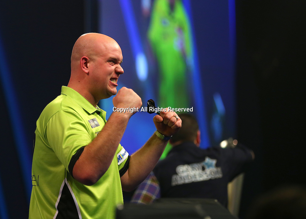 02.01.2017. Alexandra Palace, London, England. William Hill PDC World Darts Championship final  between top seeds Michael van Gerwen (1) and Gary Anderson (2). Michael van Gerwen celebrates winning the World Darts Final, beating Defending World Champion Gary Anderson 7 sets to 3