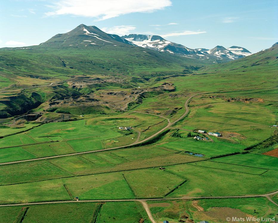 Hlíðarendi og Glerá séð til suðurs, Hörgárbyggð áður Glæsibæjarhreppur / Hlidarendi and Glera viewing south, Horgarbyggd former Glaesibaejarhreppur.