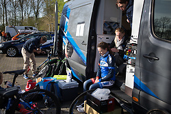 Team WNT soigneur Jessi Walker braids Becca Carter's (GBR) hair before Stage 1a of the Healthy Ageing Tour - a 16.9 km time trial, starting and finishing in Leek on April 5, 2017, in Groeningen, Netherlands.