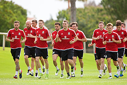VALE DO LOBO, PORTUGAL - Thursday, May 26, 2016: Wale players training during day three of the pre-UEFA Euro 2016 training camp at the Vale Do Lobo resort in Portugal. Aaron Ramsey, James Collins, Chris Gunter, Hal Robson-Kanu, Sam Vokes, Adam Matthews, Simon Church George Williams. (Pic by David Rawcliffe/Propaganda)