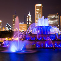 Buckingham Fountain at night with the Chicago skyline. Officially named the Clarence F. Buckingham Memorial Fountain, the fountain is a very popular attraction located in Grant Park in downtown Chicago.