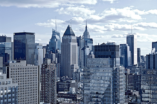 View Of Midtown West Manhattan Skyline With Office Buildings And Apartment  Buildings, New York City