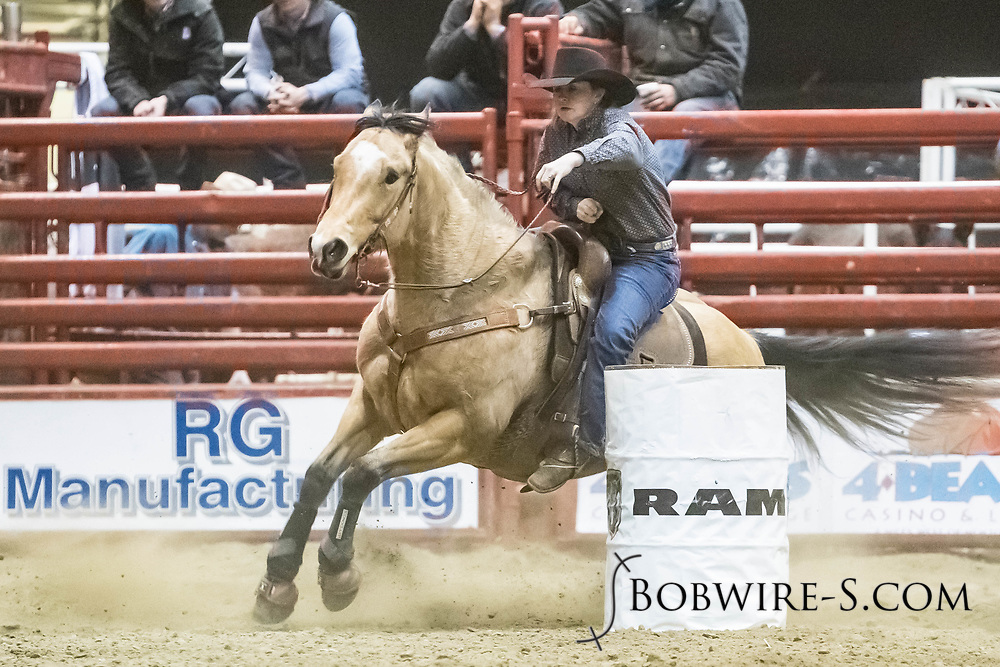Barrel racer Jenna Humble makes her run during slack at the Bismarck Rodeo on Saturday, Feb. 3, 2018. She had a time of 18.89 seconds. This photo and more from most runs are available at Bobwire-S.com.