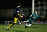 Photo: Paul Thomas.<br /> Bury v Weymouth. The FA Cup. 21/11/2006.<br /> <br /> Stephen Tully (2) of Weymouth scores their third goal.