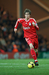PRESTON, ENGLAND - Saturday, January 3, 2009: Liverpool's Daniel Agger in action against Preston North End during the FA Cup 3rd Round match at Deepdale. (Photo by David Rawcliffe/Propaganda)