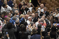 October 5, 2016 - Vatican City, Vatican - Pope Francis arrives for the opening ceremony of the International conference ''Sport at the Service of Humanity'', the first global conference on faith and sport promoted by the Vatican Pontifical Council for Culture, in the Paul VI hall in Vatican City, Vatican on October 05, 2016. (Credit Image: © Giuseppe Ciccia/Pacific Press via ZUMA Wire)