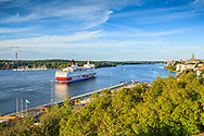 Utsikt från Fåfängan över en Finlandsbåt i Stockholms inlopp och med Djurgården på andra sidan.