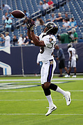 Baltimore Ravens rookie defensive back Marlon Humphrey (29) leaps and catches a pass during pregame warmups before the 2017 NFL week 9 regular season football game against the Tennessee Titans, Sunday, Nov. 5, 2017 in Nashville, Tenn. The Titans won the game 23-20. (©Paul Anthony Spinelli)