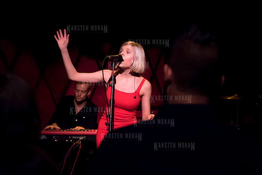 October 24, 2014 - New York, NY : The Norwegian artist Aurora Aksnes performs at Rockwood Music Hall in Manhattan on Friday evening during the fourth day of the 2014 CMJ Music Marathon.<br /> CREDIT: Karsten Moran for The New York Times