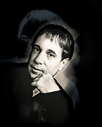 Portrait photograph of Paul Simon, photographed at the Savoy Hotel, London for Time Out magazine.