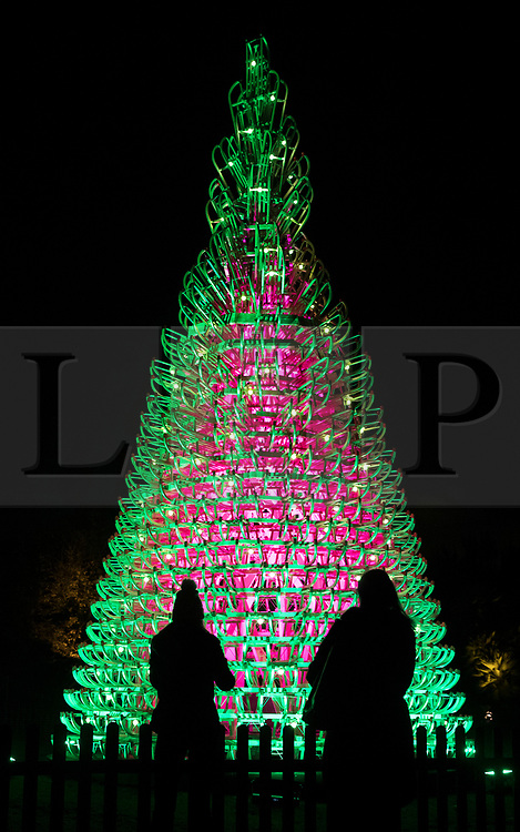© Licensed to London News Pictures. 21/11/2017. London, UK. Visitors admire a Christmas tree made of snow sleds at the opening of Christmas at Kew at Royal Botanical Gardens, Kew. The spectacular displays are illuminated by over one million tiny twinkling lights placed all over Kew Gardens - open Wednesdays – Sundays from 22 November 2017 – 2 January 2017. London, UK. Photo credit: Peter Macdiarmid/LNP
