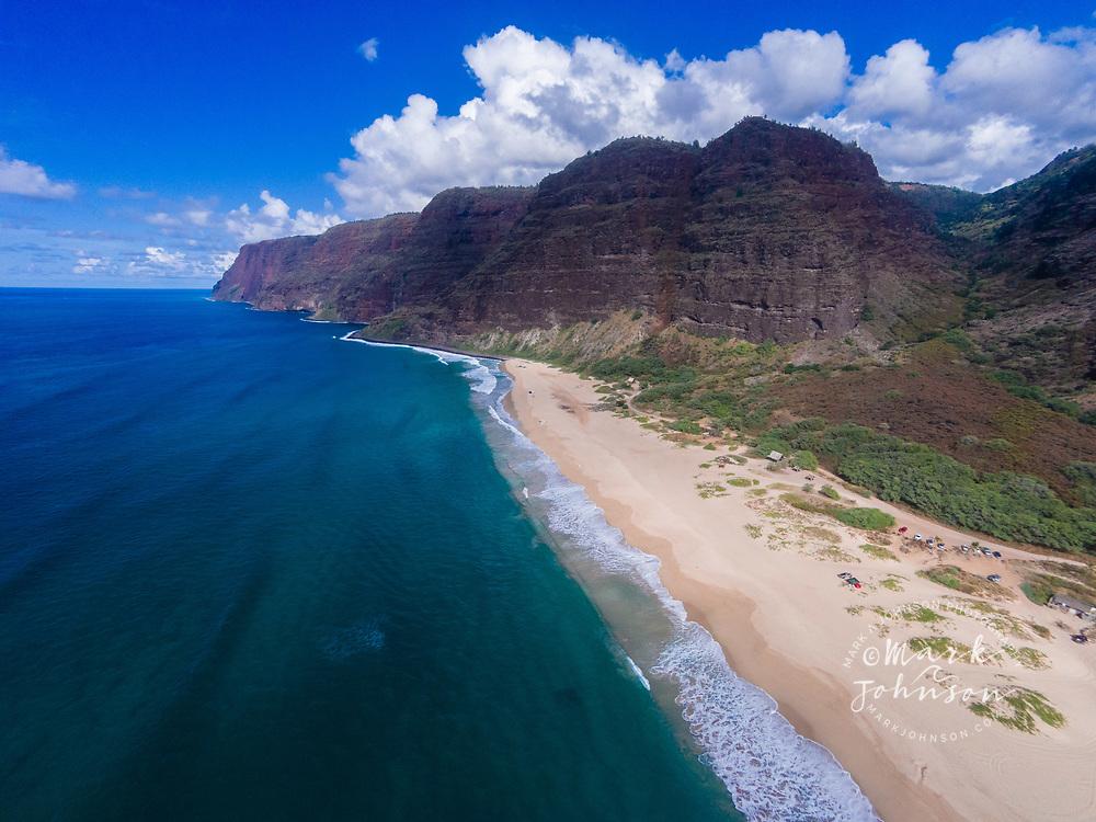 Aerial photograph of Polihale State Beach, Na Pali Coast, Kauai, Hawaii, USA