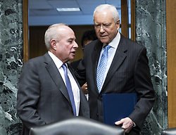 October 2, 2018 - Washington, District of Columbia, U.S. - United States Senator Orrin Hatch (Republican of Utah), chairman, US Senate Committee on Finance, right, and Andrew M. Saul, left, arrive for Saul's testimony during his confirmation hearing on his nomination to be Commissioner of Social Security in Washington, DC on Tuesday, October 2, 2018  (Credit Image: © Ron Sachs/CNP via ZUMA Wire)