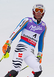 17.02.2013, Planai, Schladming, AUT, FIS Weltmeisterschaften Ski Alpin, Slalom, Herren, 2. Durchgang, im Bild Fritz Dopfer (GER) // Fritz Dopfer of Germany reacts after his 2nd run of the mens Slalom at the FIS Ski World Championships 2013 at the Planai Course, Schladming, Austria on 2013/02/17. EXPA Pictures © 2013, PhotoCredit: EXPA/ Johann Groder