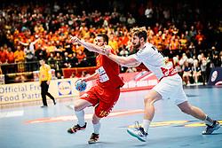 14.01.2020, Wiener Stadthalle, Wien, AUT, EHF Euro 2020, Österreich vs Nordmazedonien, Gruppe B, im Bild v. l. Filip Kuzmanovski (MKD), Fabian Posch (AUT) // f. l. Filip Kuzmanovski (MKD) Fabian Posch (AUT) during the EHF 2020 European Handball Championship, group B match between Austria and Northern Macedonia at the Wiener Stadthalle in Wien, Austria on 2020/01/14. EXPA Pictures © 2020, PhotoCredit: EXPA/ Florian Schroetter