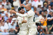 Wicket - Nathan Lyon of Australia celebrates taking the wicket of Rory Burns of England during the International Test Match 2019 match between England and Australia at Edgbaston, Birmingham, United Kingdom on 3 August 2019.
