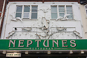 Exterior of Fish and Chip restaurant, Neptunes on the Eastern Esplanade at Southend-on-Sea, Essex.