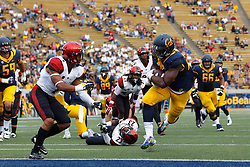 BERKELEY, CA - SEPTEMBER 12:  Running back Vic Enwere #23 of the California Golden Bears rushes up field for a touchdown against the San Diego State Aztecs during the fourth quarter at California Memorial Stadium on September 12, 2015 in Berkeley, California. The California Golden Bears defeated the San Diego State Aztecs 35-7. (Photo by Jason O. Watson/Getty Images) *** Local Caption *** Vic Enwere