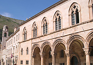 Dubrovnik architecture: arches of the<br /> Rector's Palace and the belltower on the<br /> Dominincan Monastery<br /> Dubrovnik, Croatia<br /> c. Ellen Rooney