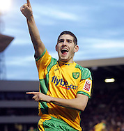 London - Saturday, January 12th, 2008: Ched Evans of Norwich City celebrates his goal to equalise during the Coca Cola Champrionship match at Oakwell, Barnsley. (Pic by Paul Hollands/Focus Images)