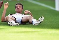 FUSSBALL WM 2014                VIERTELFINALE Frankreich - Deutschland           04.07.2014 Thomas Mueller (Deutschland) am Boden