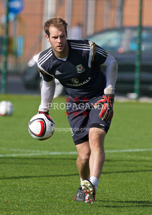 NEWPORT, WALES - Wednesday, October 8, 2014: Wales' goalkeeper Owain Fon Williams training at Dragon Park National Football Development Centre ahead of the UEFA Euro 2016 qualifying match against Bosnia and Herzegovina. (Pic by David Rawcliffe/Propaganda)
