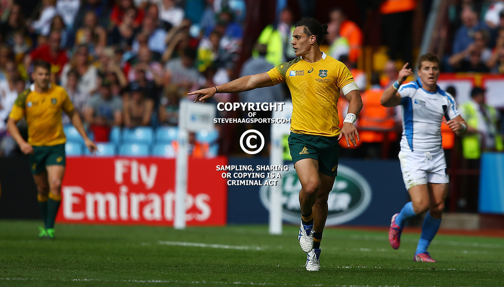 BIRMINGHAM, ENGLAND - SEPTEMBER 27: Matt Toomua of Australia during the Rugby World Cup 2015 Pool A match between Australia and Uruguay at Villa Park on September 27, 2015 in Birmingham, England. (Photo by Steve Haag/Gallo Images)