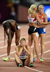 Carolin Schafer of Germany looks dejected - Mandatory byline: Patrick Khachfe/JMP - 07966 386802 - 06/08/2017 - ATHLETICS - London Stadium - London, England - 800m Heptathlon - IAAF World Championships
