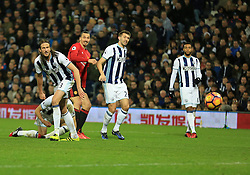 17 December 2016 - Premier League - West Bromwich Albion v Manchester United - Zlatan Ibrahimovic of Manchester United watches his goal bound shot creep in (0-2) - Photo: Paul Roberts / Offside.