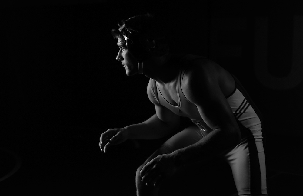 John Drake, a wrestler at California State University Fullerton, poses for a portrait at the university's Titan Gym on April 9, 2009. Drake is in his junior year and wrestles at 197-pounds.
