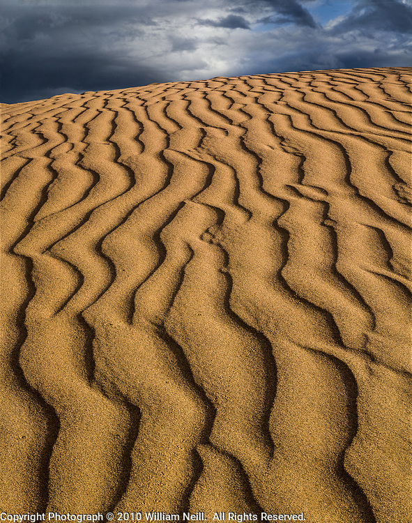Dune Pattern and Storm Clouds, Death Valley National Park, California 1983