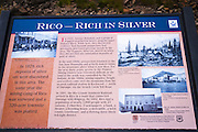 Interpretive plaque at the Rico silver mine, Rico, Colorado USA