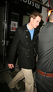 08.FEBRUARY.2007. LONDON<br /> <br /> PRINCE WILLIAM LEAVING BOUJIS NIGHTCLUB IN KENSINGTON AT 2.30AM OUT THE SIDE DOOR WHILE GIRLFRIEND KATE MIDDLETON LEFT THROUGH FRONT DOOR BEFORE JUMPING IN A CAB.<br /> <br /> BYLINE: EDBIMAGEARCHIVE.CO.UK<br /> <br /> *THIS IMAGE IS STRICTLY FOR UK NEWSPAPERS AND MAGAZINES ONLY*<br /> *FOR WORLD WIDE SALES AND WEB USE PLEASE CONTACT EDBIMAGEARCHIVE - 0208 954 5968*