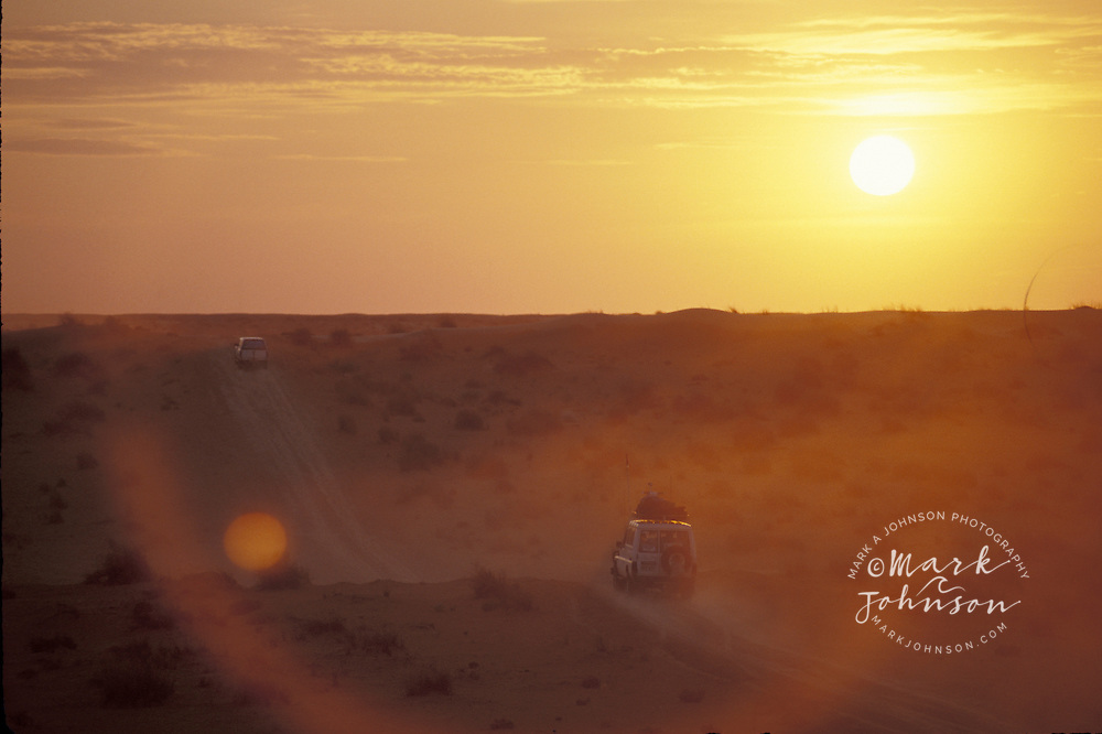 Australia, Simpson Desert, 4 WD vehicles at sunset
