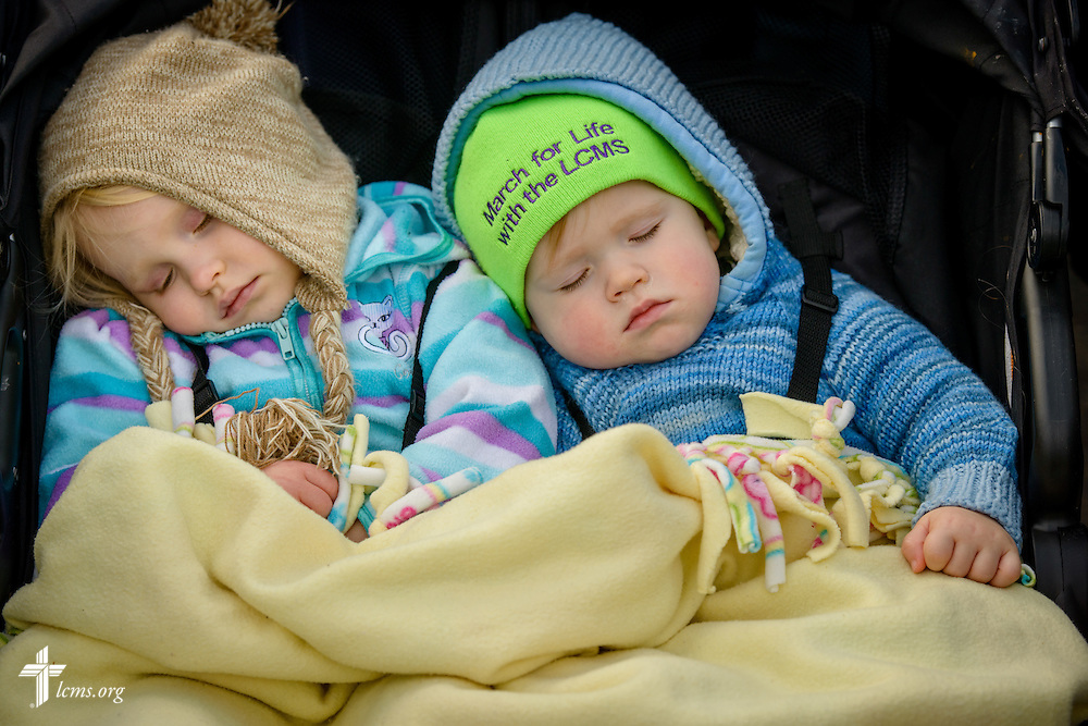 Catherine and Samuel Westgate nap during the March for Life 2017 on Friday, Jan. 27, 2017, in Washington, D.C. LCMS Communications/Erik M. Lunsford