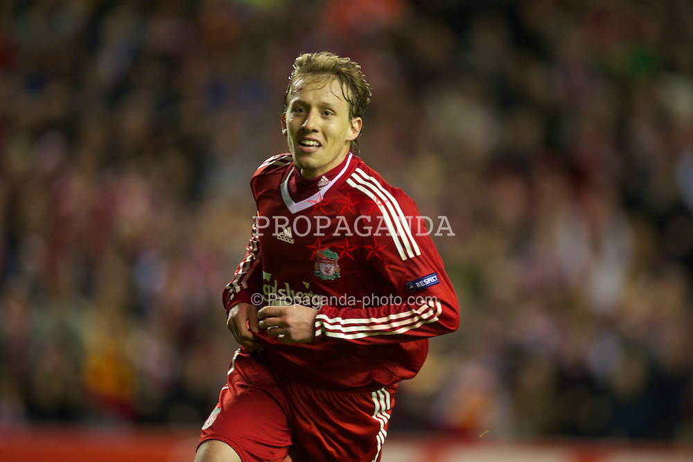 LIVERPOOL, ENGLAND - Thursday, April 8, 2010: Liverpool's Lucas Leiva celebrates scoring his side's second goal against Sport Lisboa e Benfica during the UEFA Europa League Quarter-Final 2nd Leg match at Anfield. (Photo by: David Rawcliffe/Propaganda)