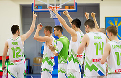 Marko Pajic of Slovenia, Gezim Morina of Slovenia, Jaka Brodnik of Slovenia celebrate after the basketball match between National teams of Slovenia and Lithuania in First Round of U20 Men European Championship Slovenia 2012, on July 14, 2012 in Domzale, Slovenia. Slovenia defeated Lithuania 87-81. (Photo by Vid Ponikvar / Sportida.com)