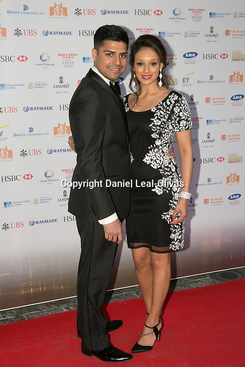 Asian Rich List Gala. Seema Pathan (r) and guest attends the annual ceremony which recognises the country\'s richest Asians. Figures compiled by the Eastern Eye newspaper. Park Plaza Hotel, London, United Kingdom. Friday, 11th April 2014. Picture by Daniel Leal-Olivas / i-Images