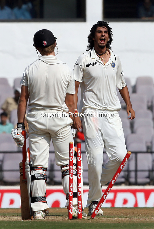Indian bowler Ishant Sharma celebrates New Zeland batsman Kane Williamson wicket during the 3rd test match India vs New Zealand day-4 Played at Vidarbha Cricket Association Stadium, Jamtha, Nagpur, 23 November 2010 (5-day match)November 2010 (5-day match)