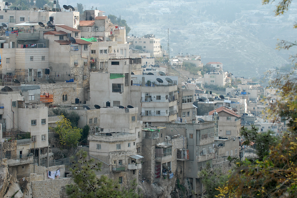 A general view of Silwan, or Kfar Shiloah, a mostly Palestinian neighborhood of roughly 45,000, adjacent to the Old City of Jerusalem, extending along the Kidron Valley and running alongside the eastern slopes of Jabal al-Mukaber. December 10, 2009. Photo by Gili Yaari