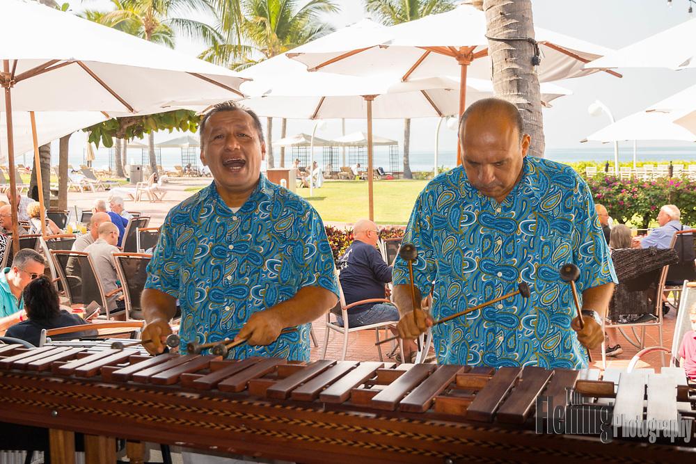 Marimba players entertain guests at the Sheraton hotel in Puerto Vallarta, Mexico.