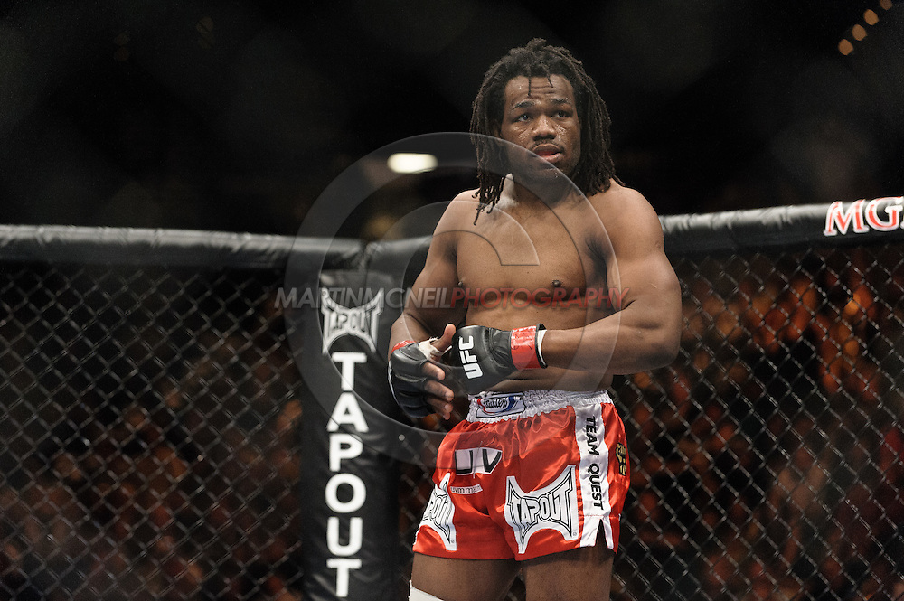 "LAS VEGAS, NEVADA, MAY 24, 2008: Thierry Rameau Sokoudjou stands rady in his corner before his fight at ""UFC 84: Ill Will"" inside the MGM Grand Garden Arena in Las Vegas"