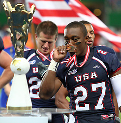 16.07.2011, Ernst Happel Stadion, Wien, AUT, American Football WM 2011, United States of America (USA) vs Canada (CAN), im Bild Jeff Franklin (USA, #27, CB, S)  // during the American Football World Championship 2011 game, USA vs Canada, at Ernst Happel Stadion, Wien, 2011-07-16, EXPA Pictures © 2011, PhotoCredit: EXPA/ T. Haumer